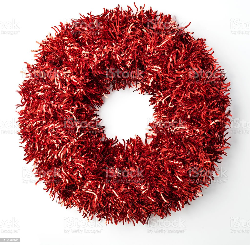 Red Tinsel Christmas Wreath stock photo