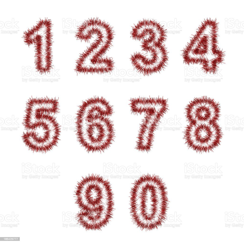 red tinsel digits on white royalty-free stock photo
