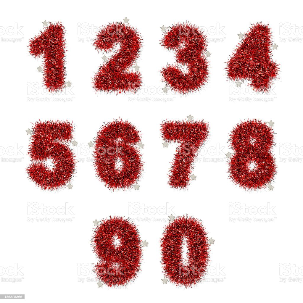 red tinsel digits with star on white royalty-free stock photo