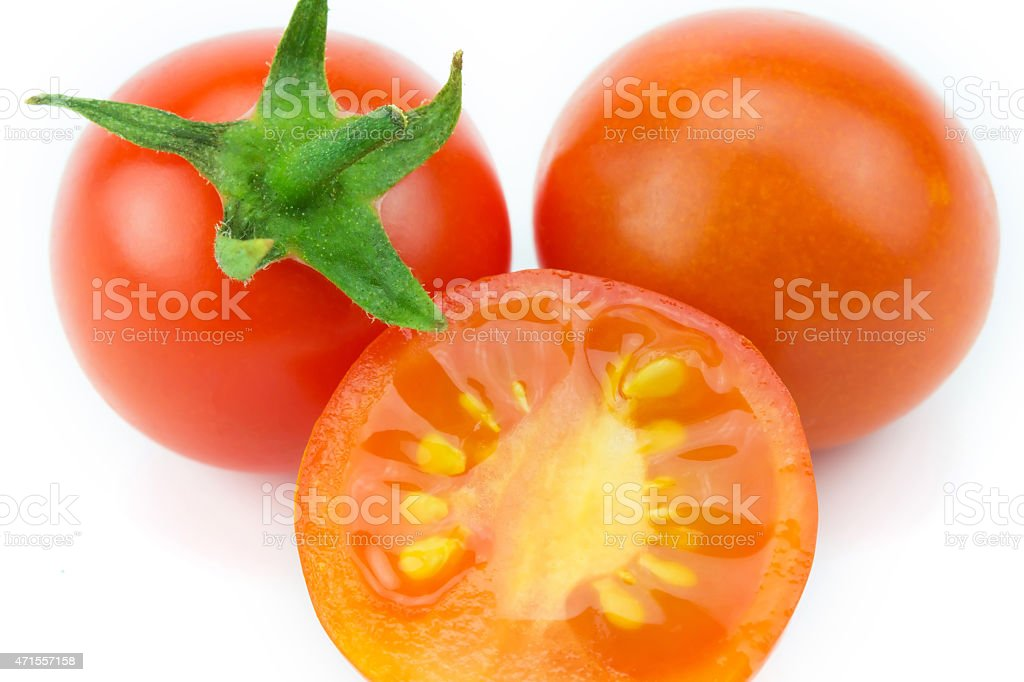 Red tomato isolated on white background royalty-free stock photo