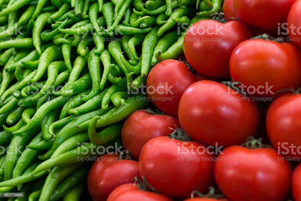 Red Tomatoand Green Chili stock photo