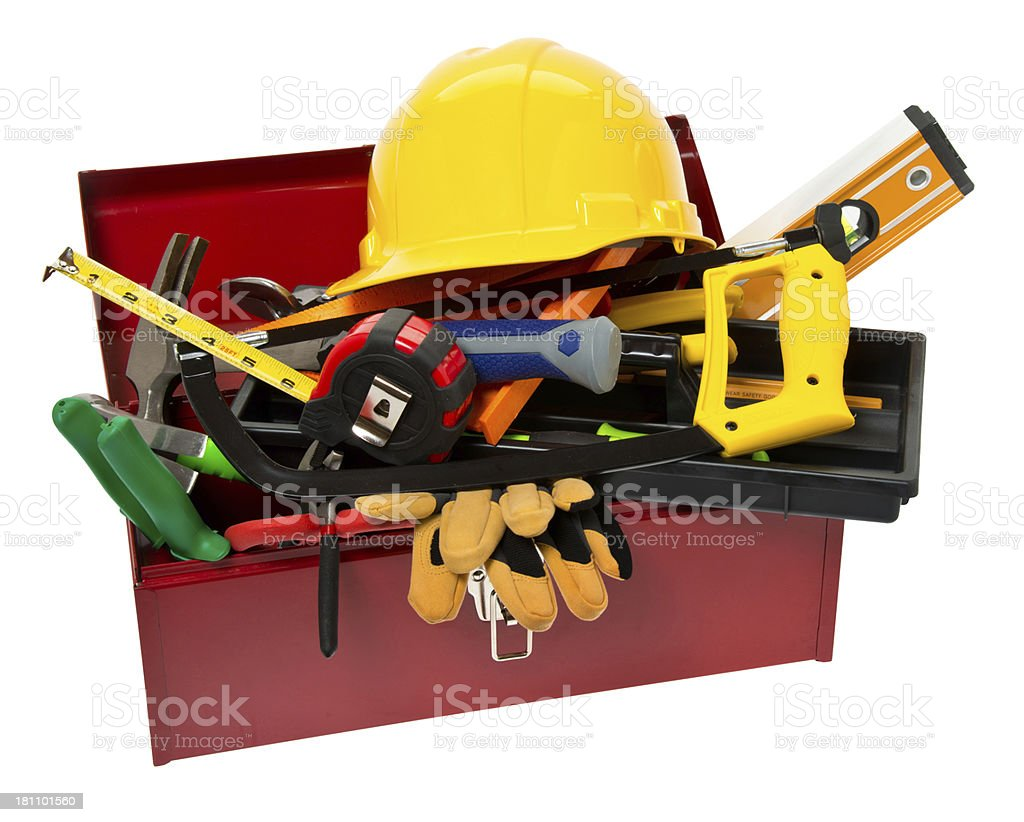 Red Tool Box with Variety of Tools royalty-free stock photo
