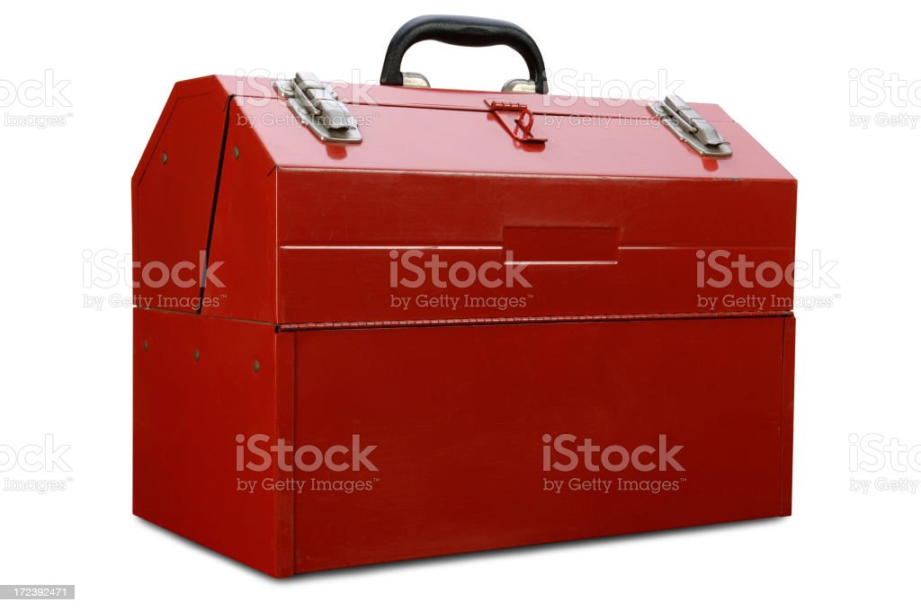 Red Toolbox with Path royalty-free stock photo