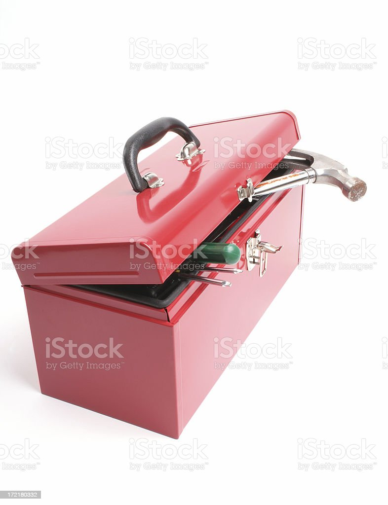 Red toolbox with tools sticking out royalty-free stock photo
