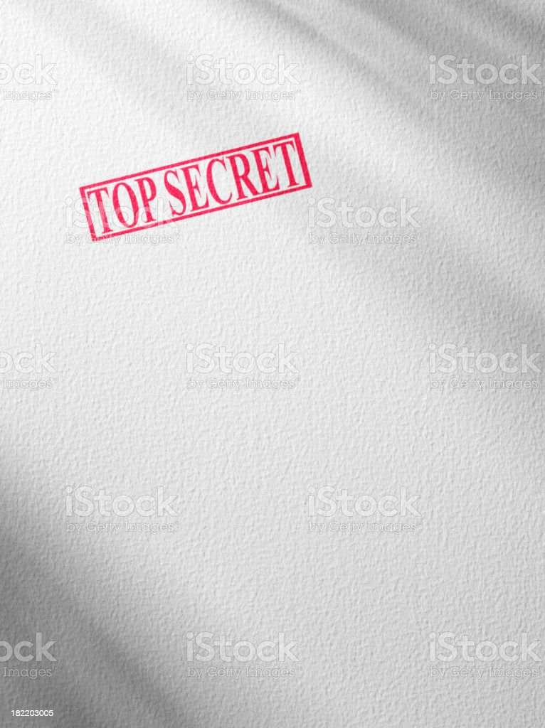 Red Top Secret Stamped on a Document royalty-free stock photo