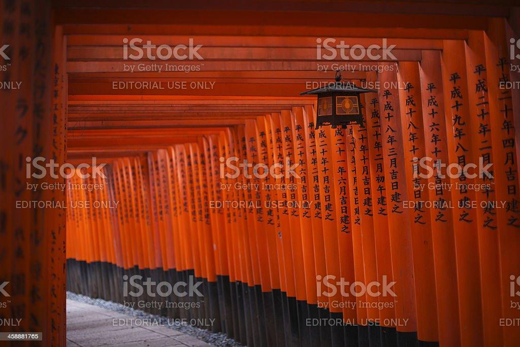 Red Torii at Fushimi Inari-taisha shrine in Kyoto royalty-free stock photo