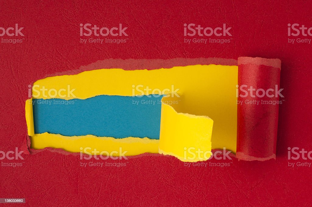 Red torn paper with blue space for text royalty-free stock photo