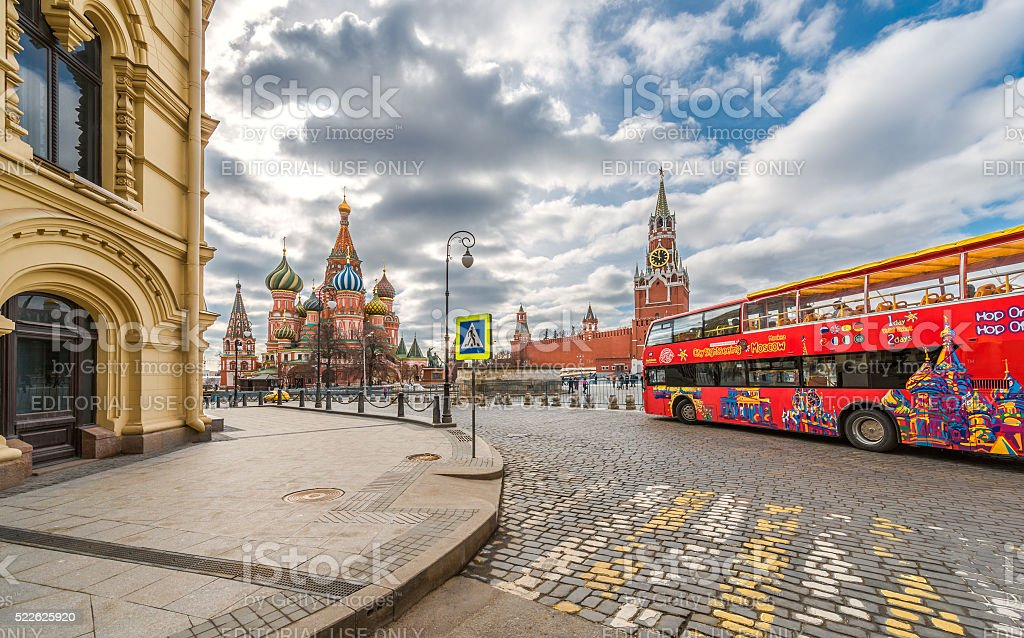 Red tourist bus in Moscow. stock photo