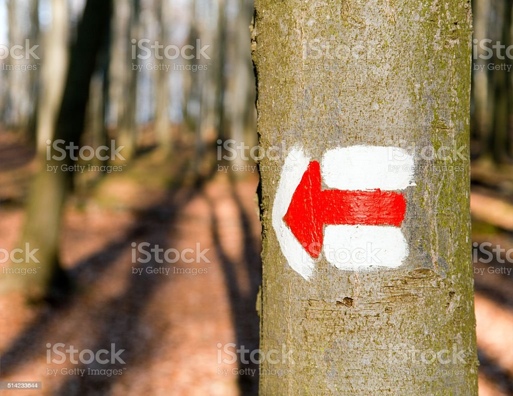 Red tourist or hiking trail signs symbols stock photo