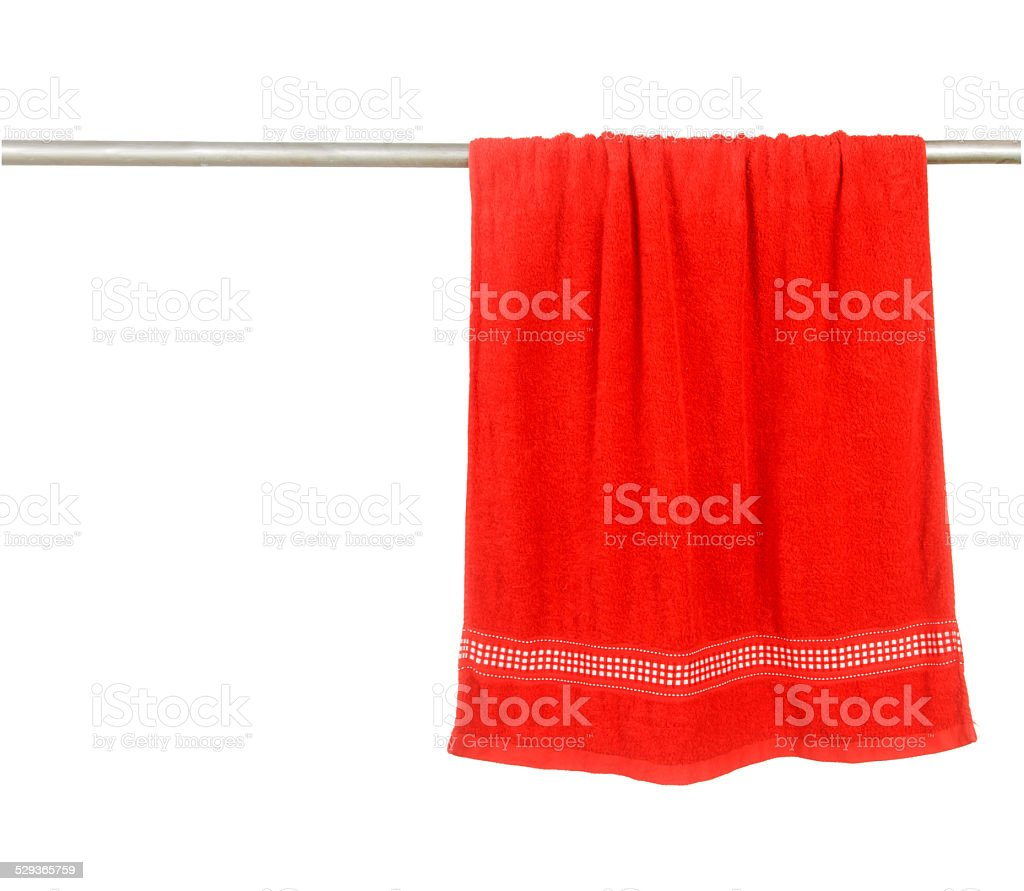 Red towel hang on rack stock photo