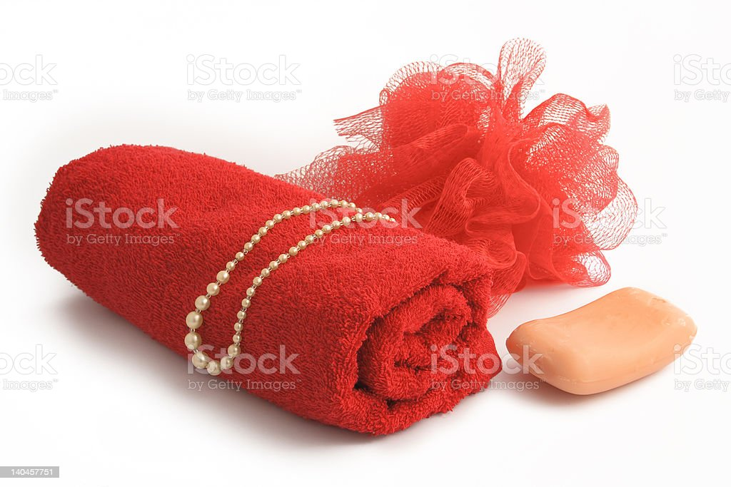 red towel, soap and perl necklac royalty-free stock photo