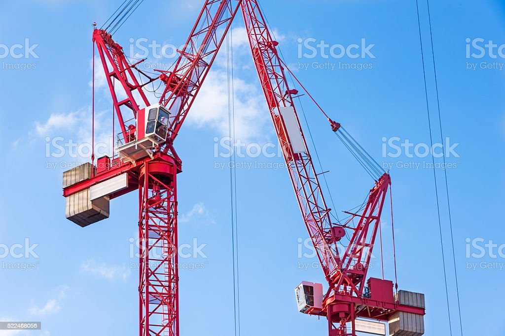 Red Tower Cranes stock photo