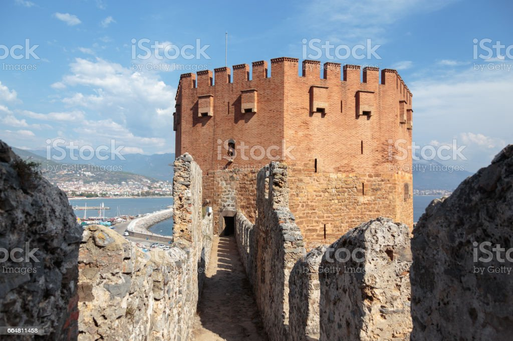 Red Tower of Alanya stock photo