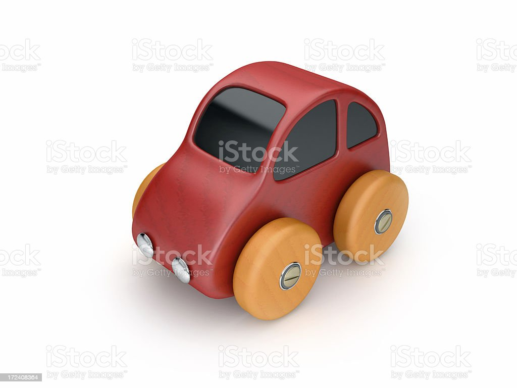 Red toy car with orange wheels, against a white background stock photo