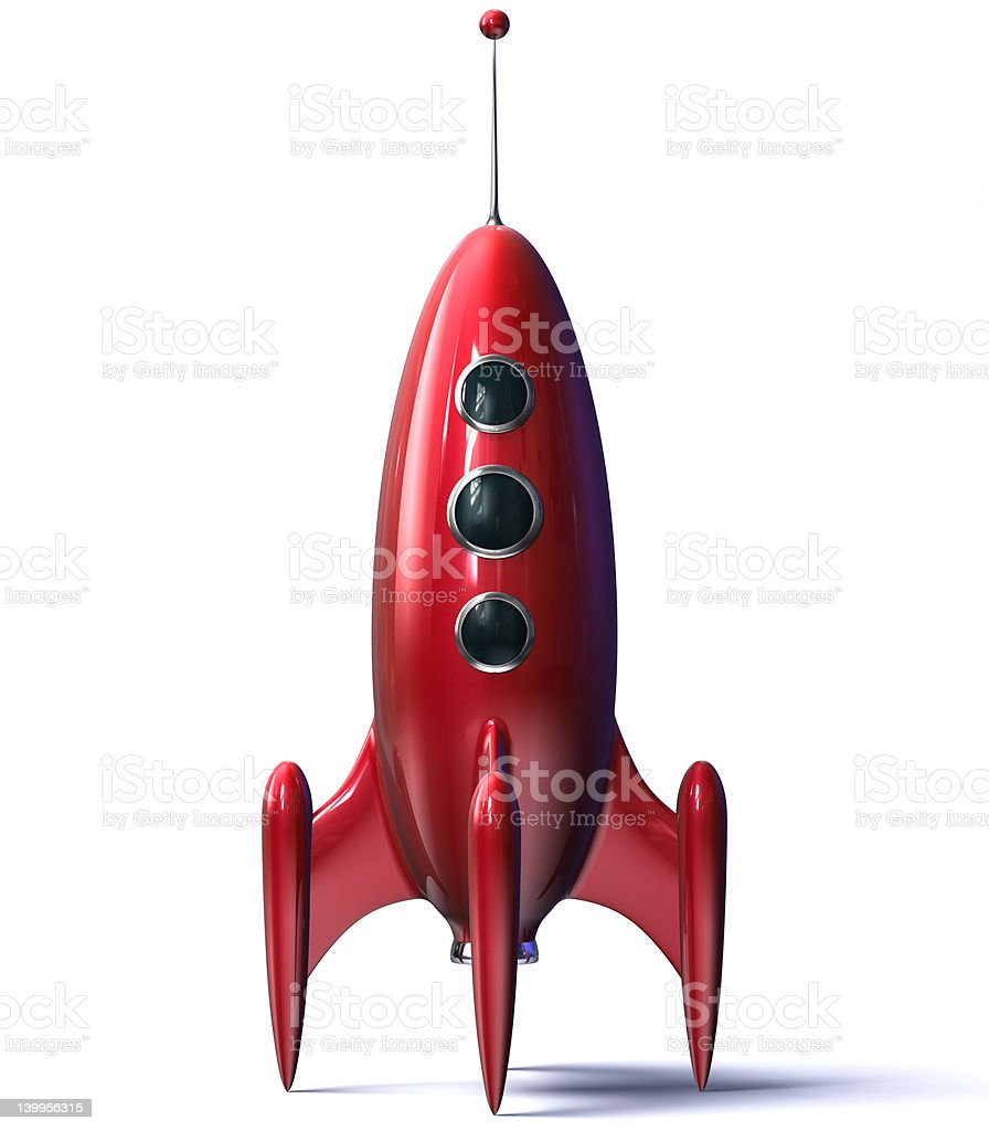 Red Toy Rocket royalty-free stock photo