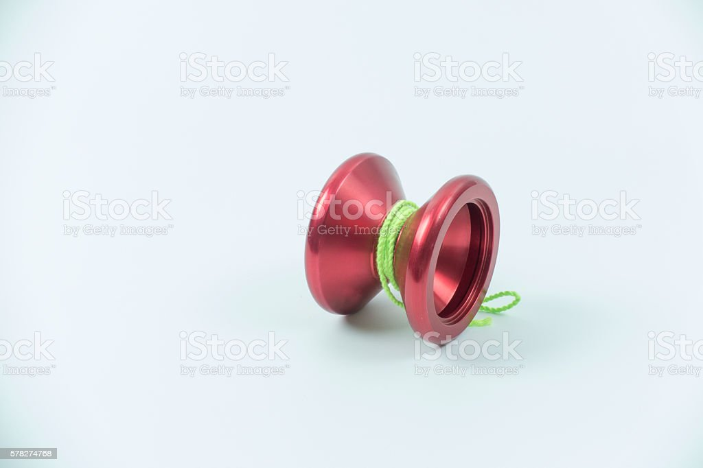 red toy yo yo isolated on white background stock photo