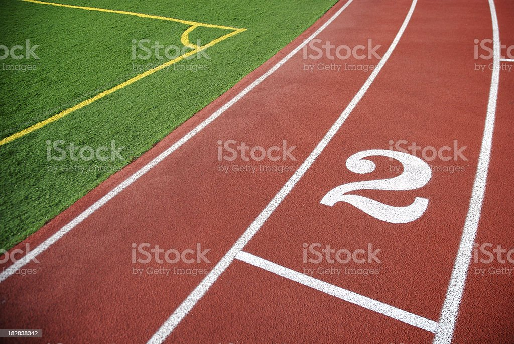 Red Track Background with Number Two royalty-free stock photo