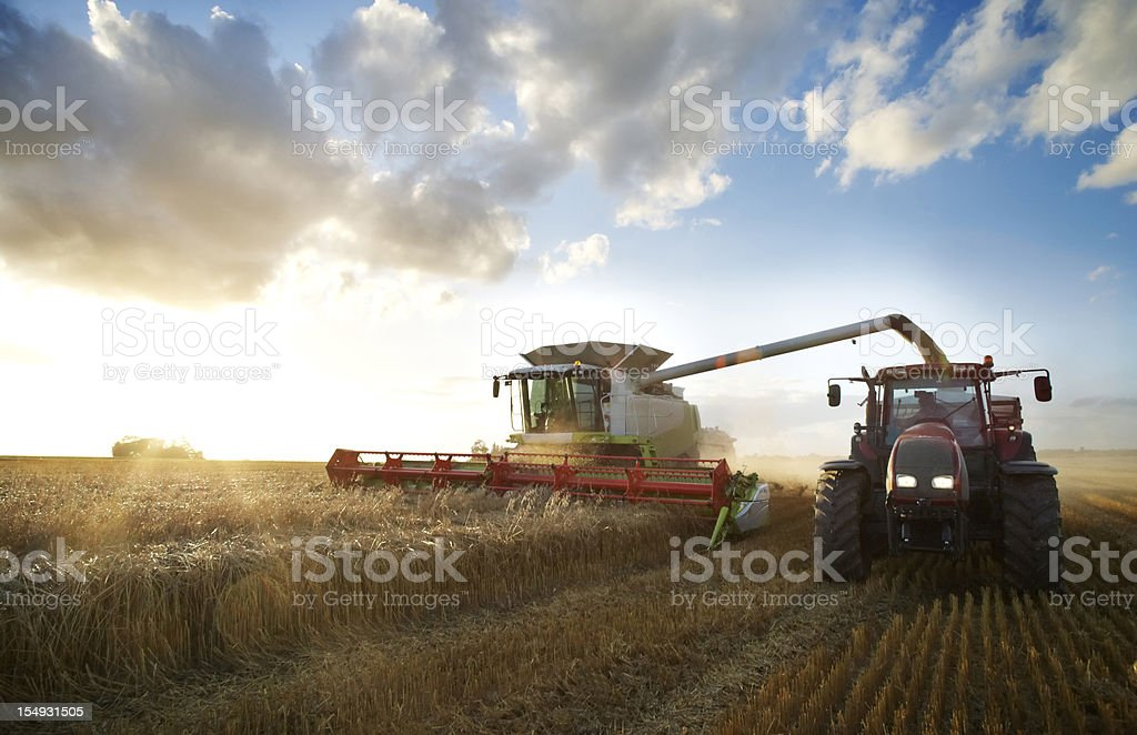Red tractor and combine stock photo