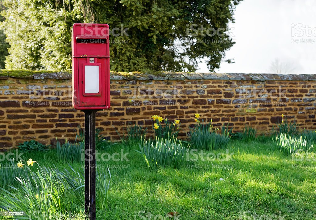 Red traditional post box stock photo