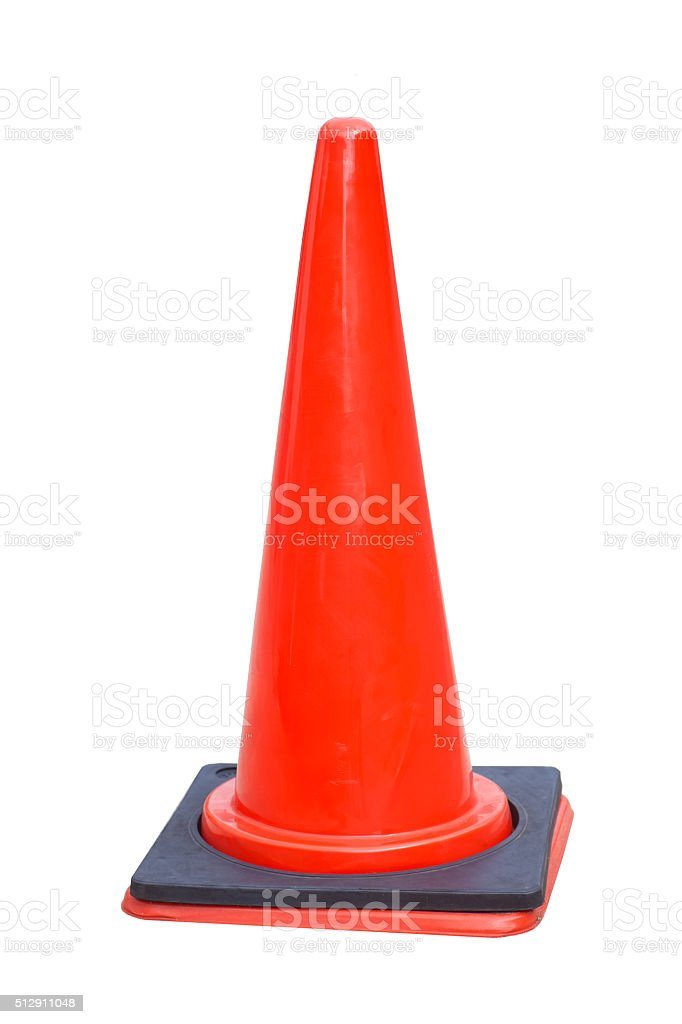 Red traffic cone isolated on white background stock photo