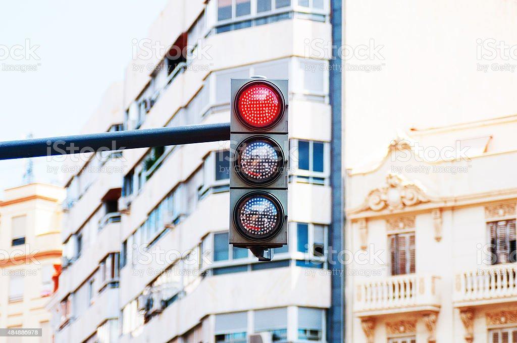Red traffic light closeup stock photo