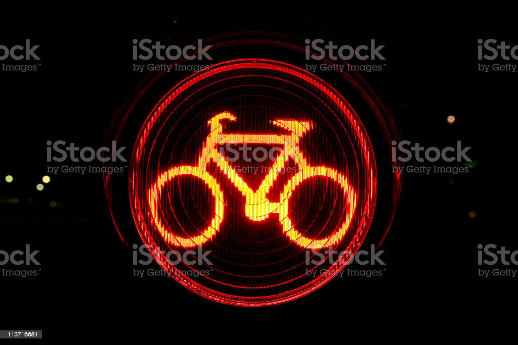 Red traffic light for bicycles stock photo