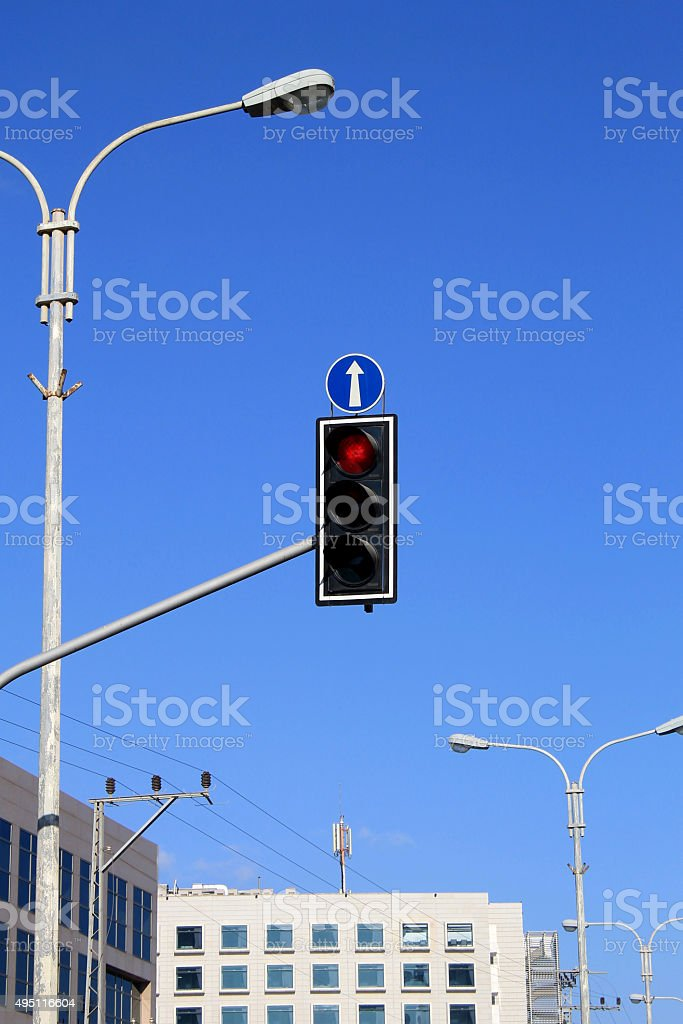 red traffic light stock photo