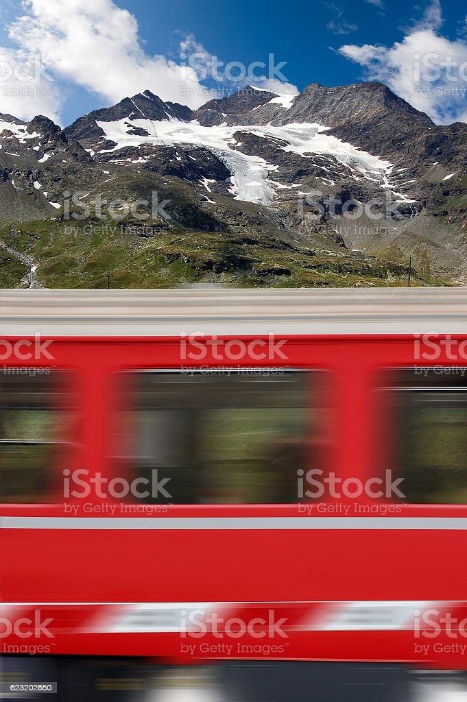 Red Train and Bernina Alps - Switzerland stock photo