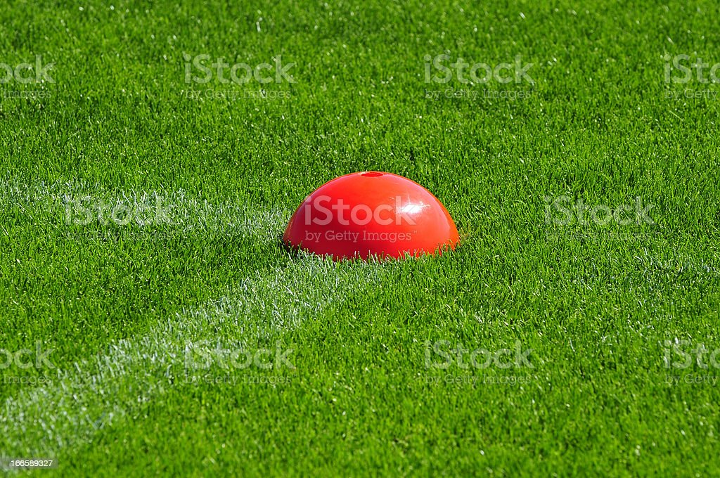 Red training spot on grass field royalty-free stock photo