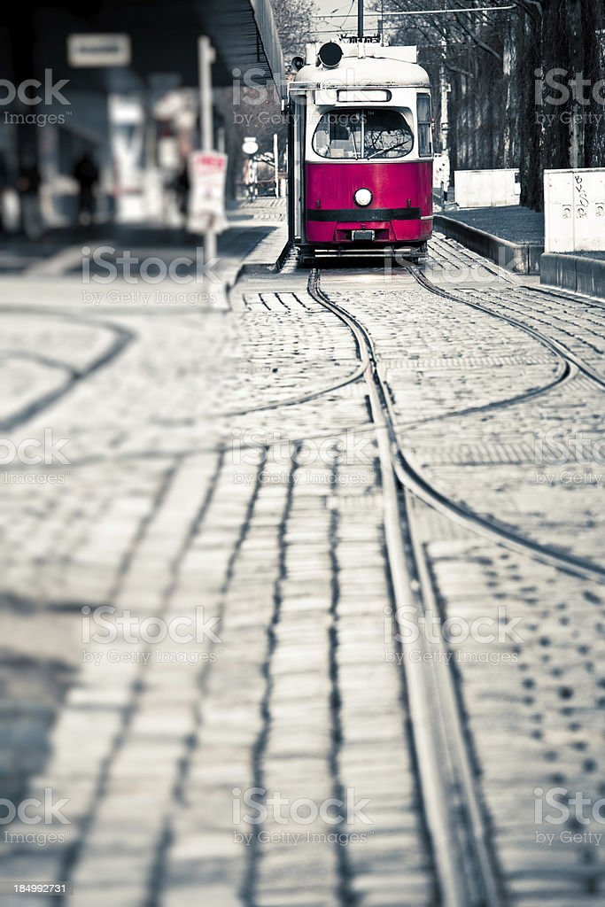 Red Tram in Vienna, Europe royalty-free stock photo