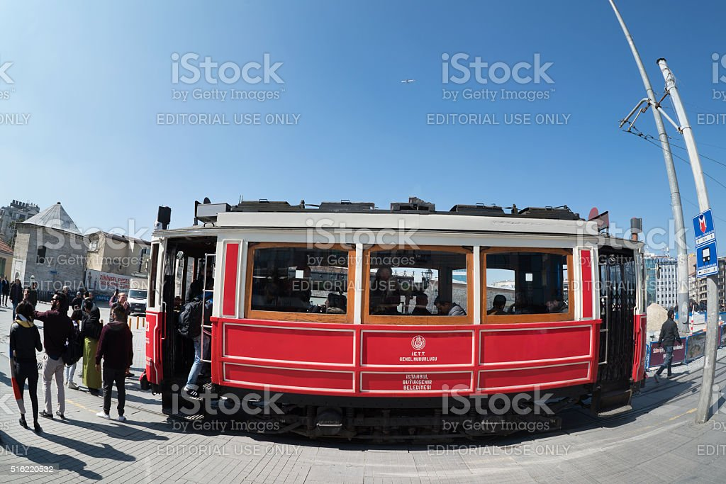 Red tramway in taksim square stock photo