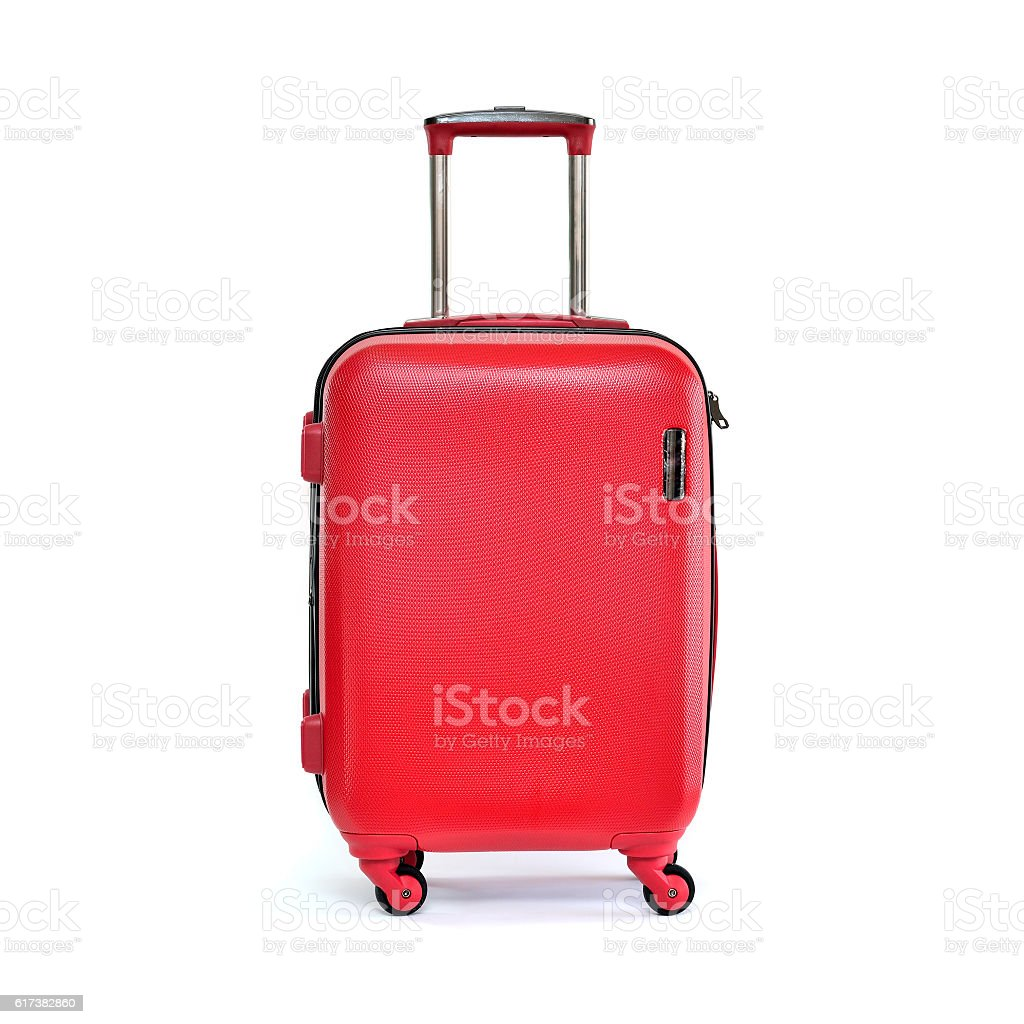 Red travel luggage stock photo
