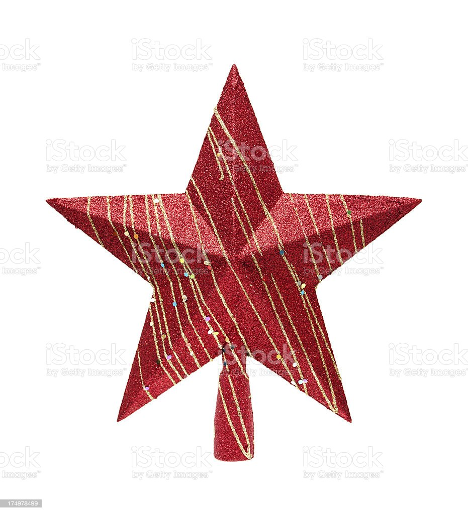 Red tree topper (Clipping path!) isolated on white backgroung stock photo