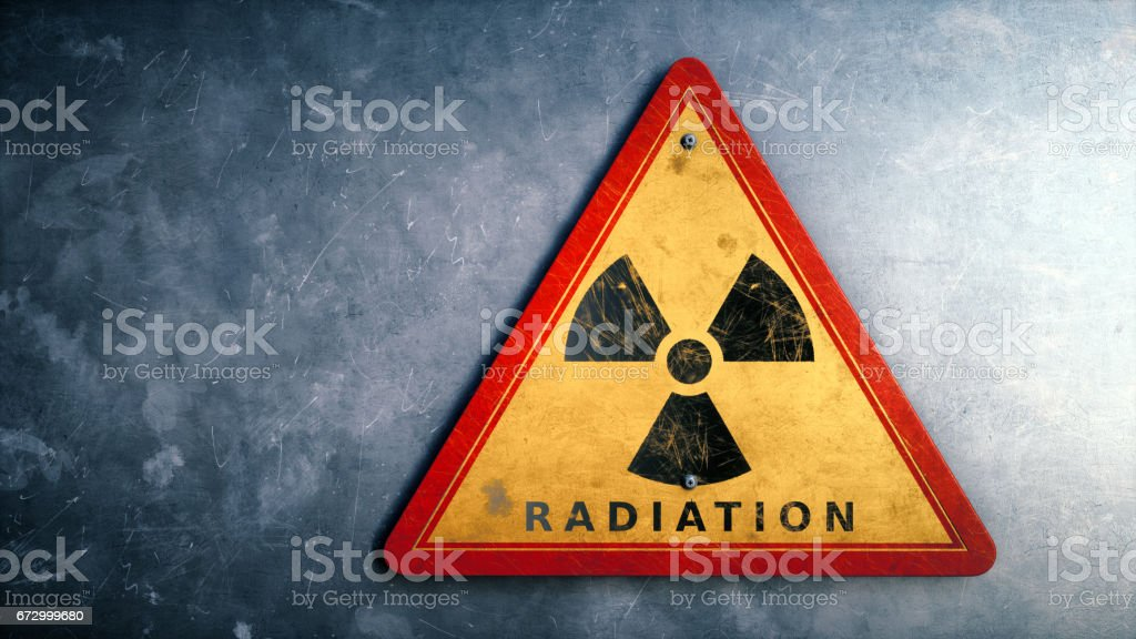 Red Triangular Radiation Sign stock photo