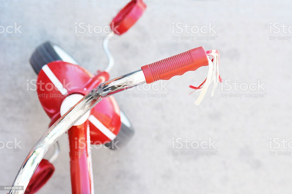 Red Tricycle From Above stock photo