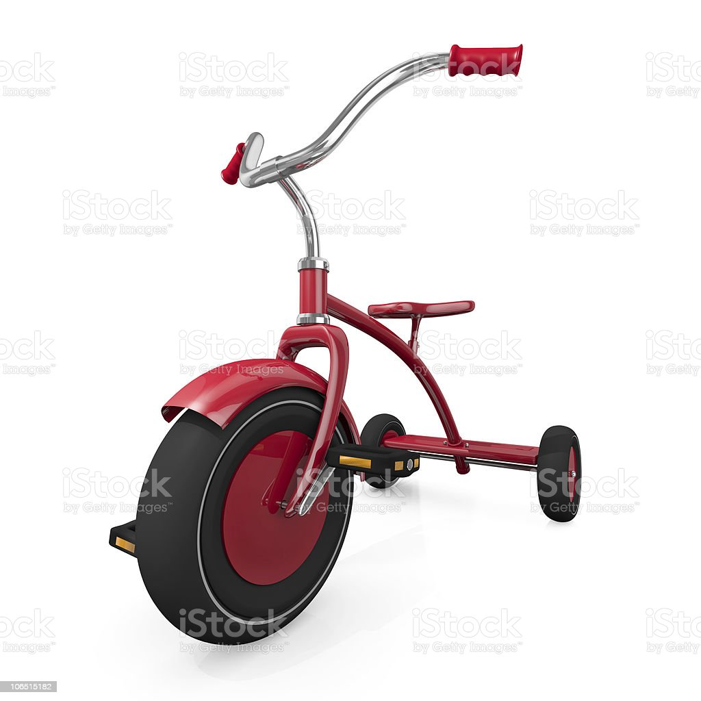Red tricycle on white background stock photo