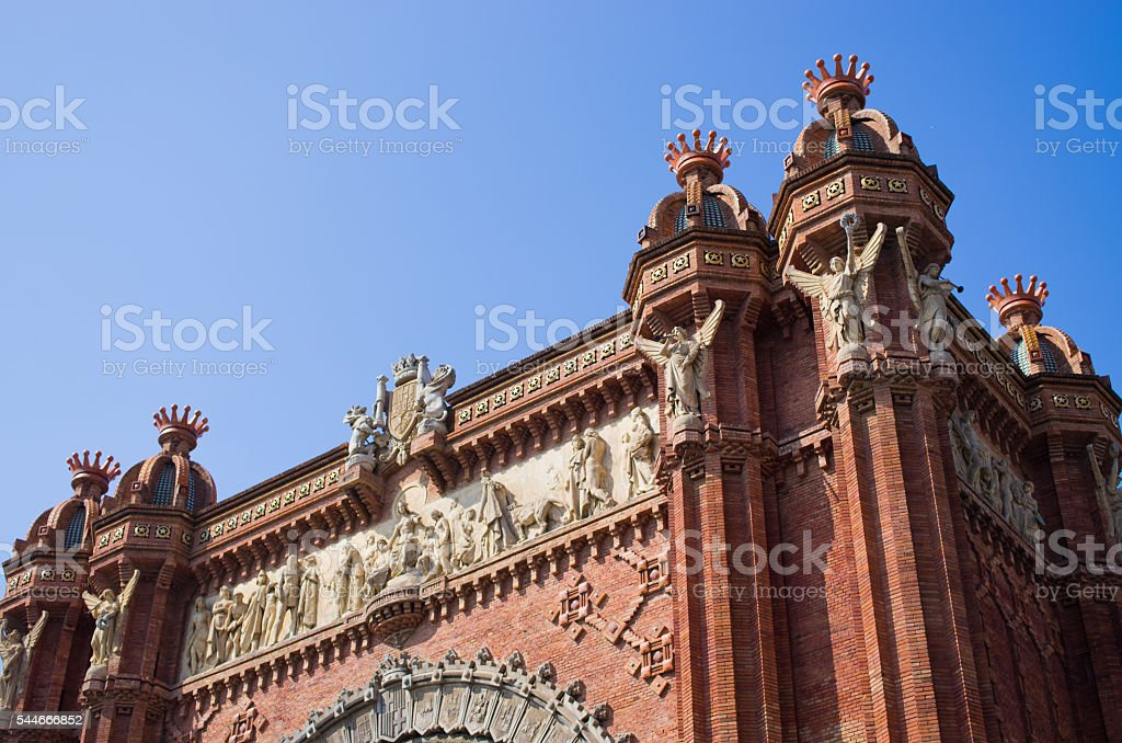 Red Triumphal Arch in barcelona, Spain stock photo