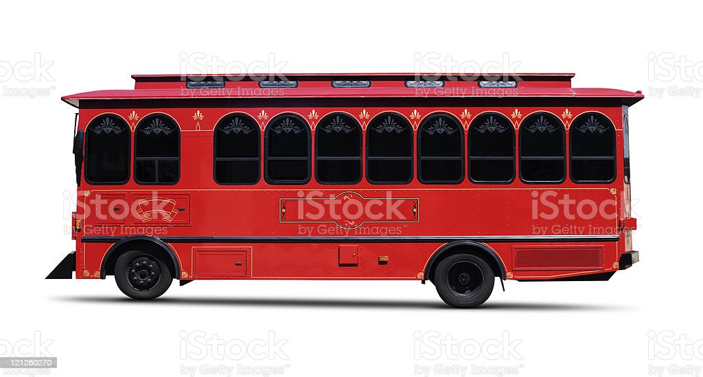Red Trolly — Clipping Path royalty-free stock photo