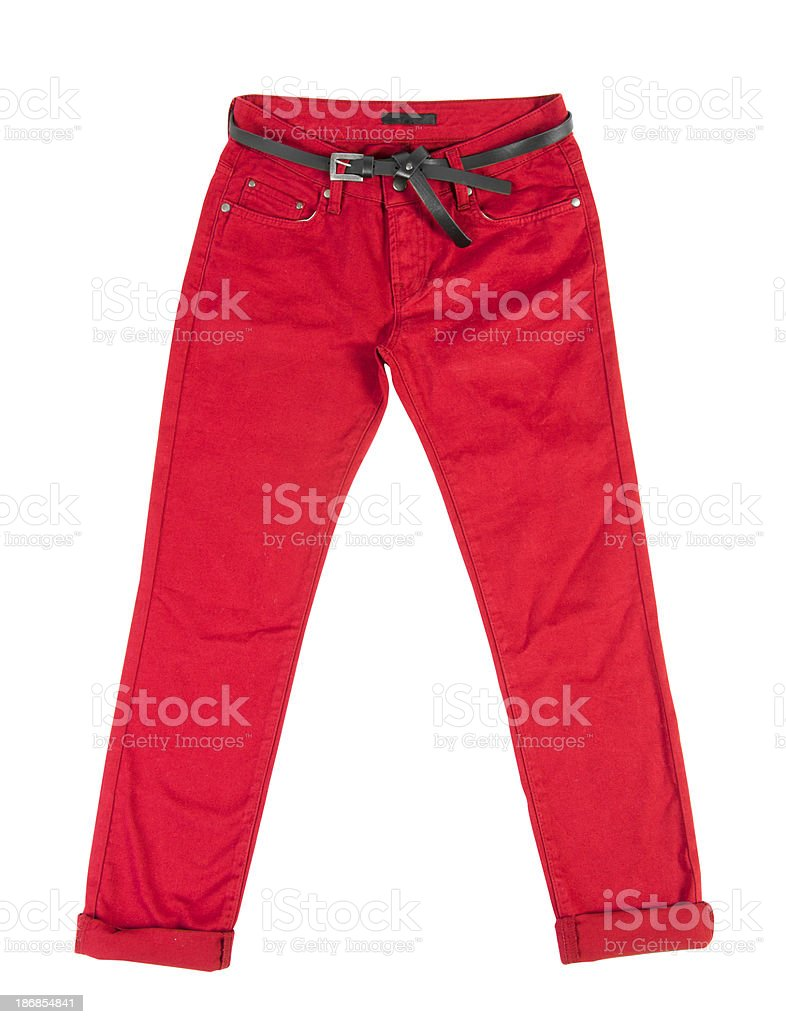 red trousers stock photo