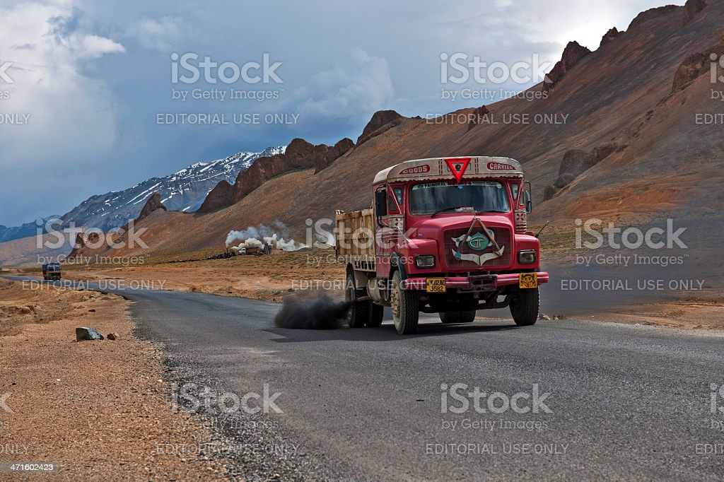 Red Truck and Asphalt Base on Tableland Mora royalty-free stock photo