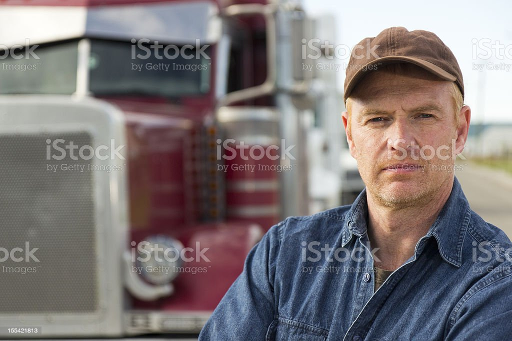 Red Truck and Driver royalty-free stock photo