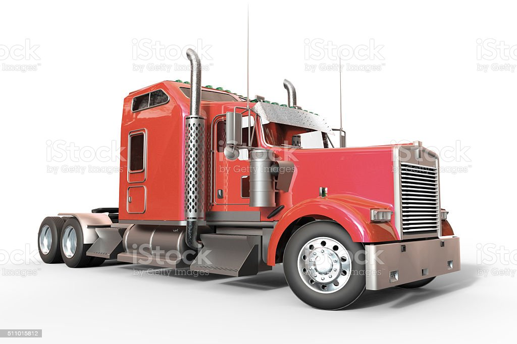 Red truck and Isolated Background stock photo