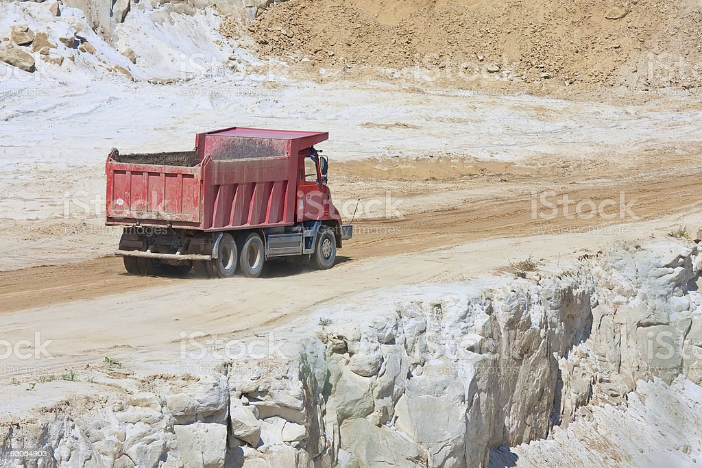 Red truck in an open magnesium mine, Czech republic stock photo
