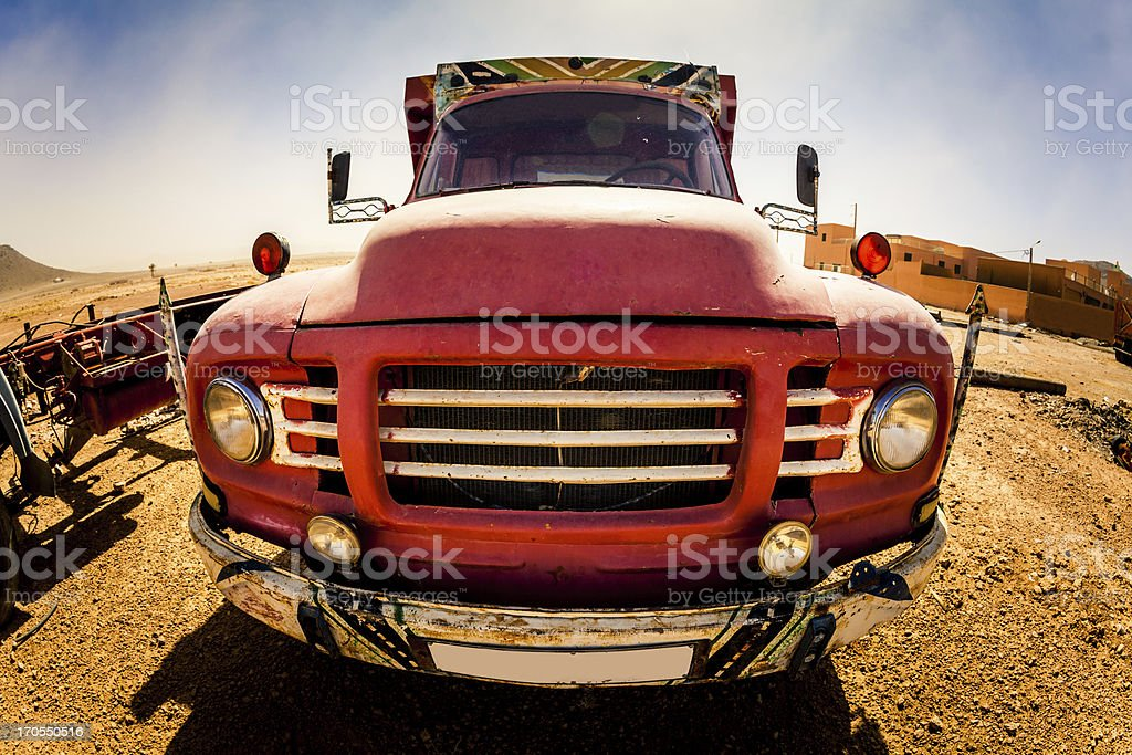 Red Truck in Desert royalty-free stock photo