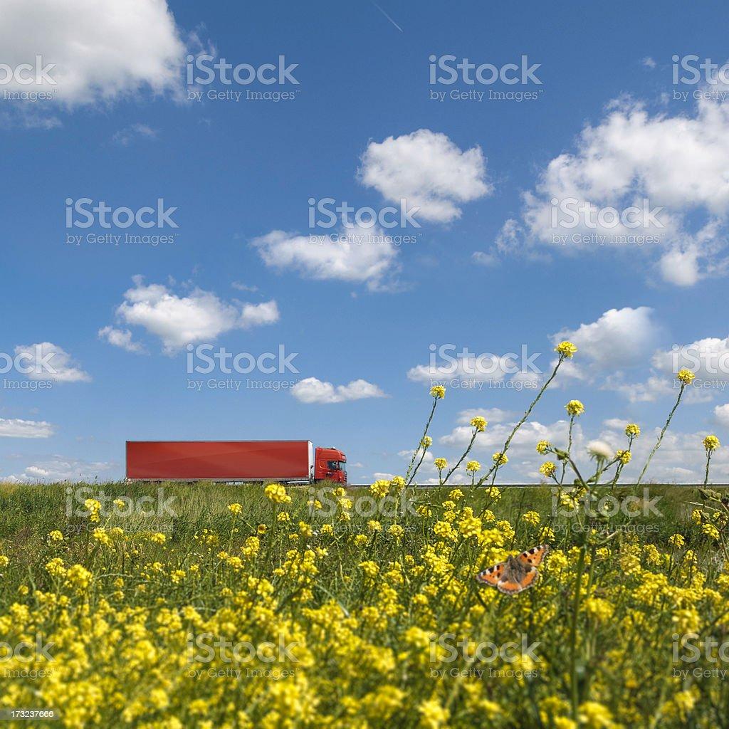 Red truck in dutch landscape stock photo