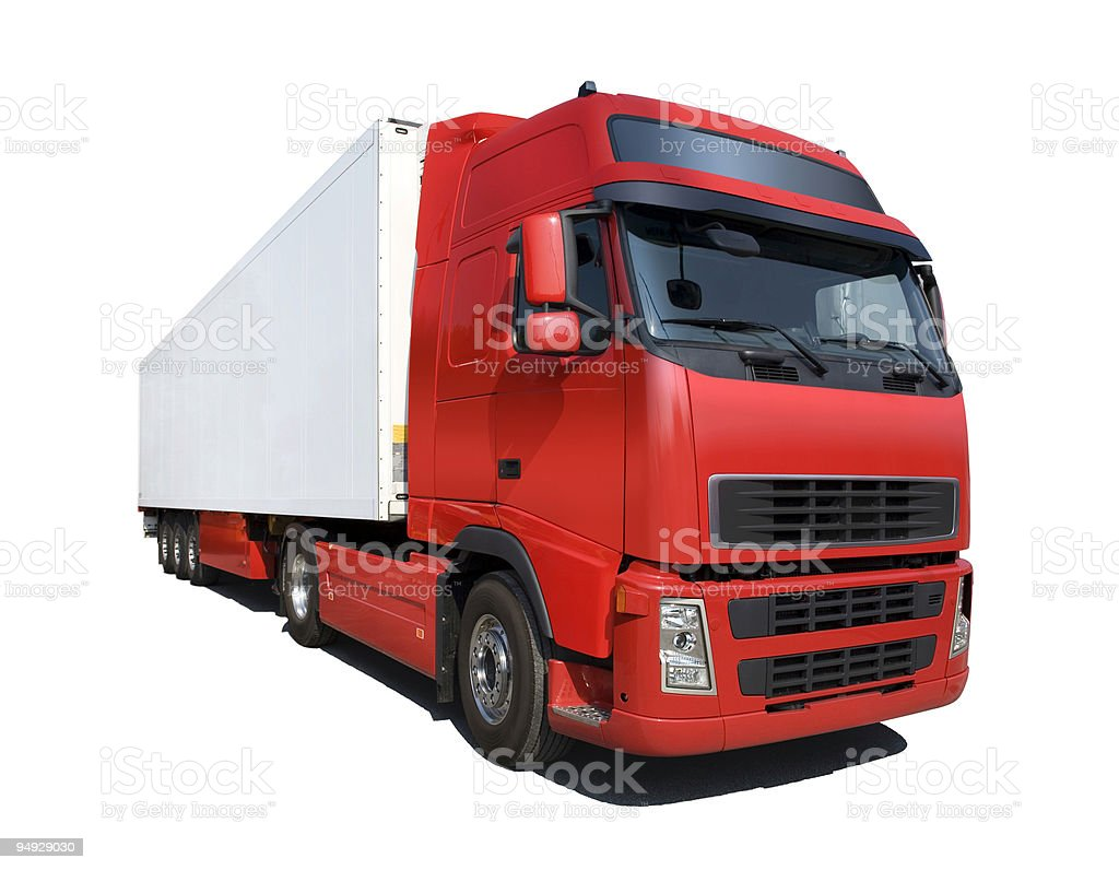 Red truck isolated on white royalty-free stock photo