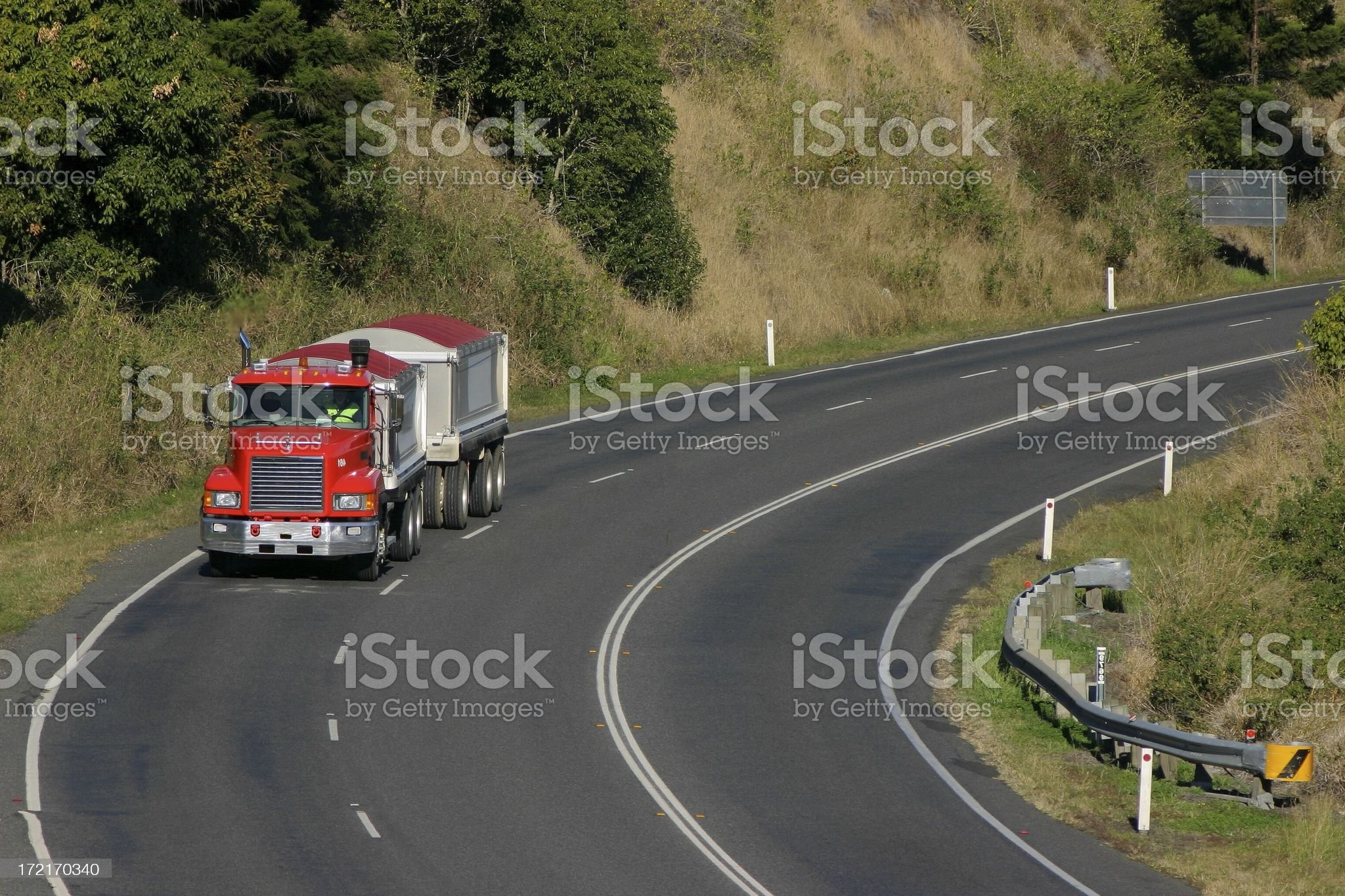 Red truck on a bend royalty-free stock photo