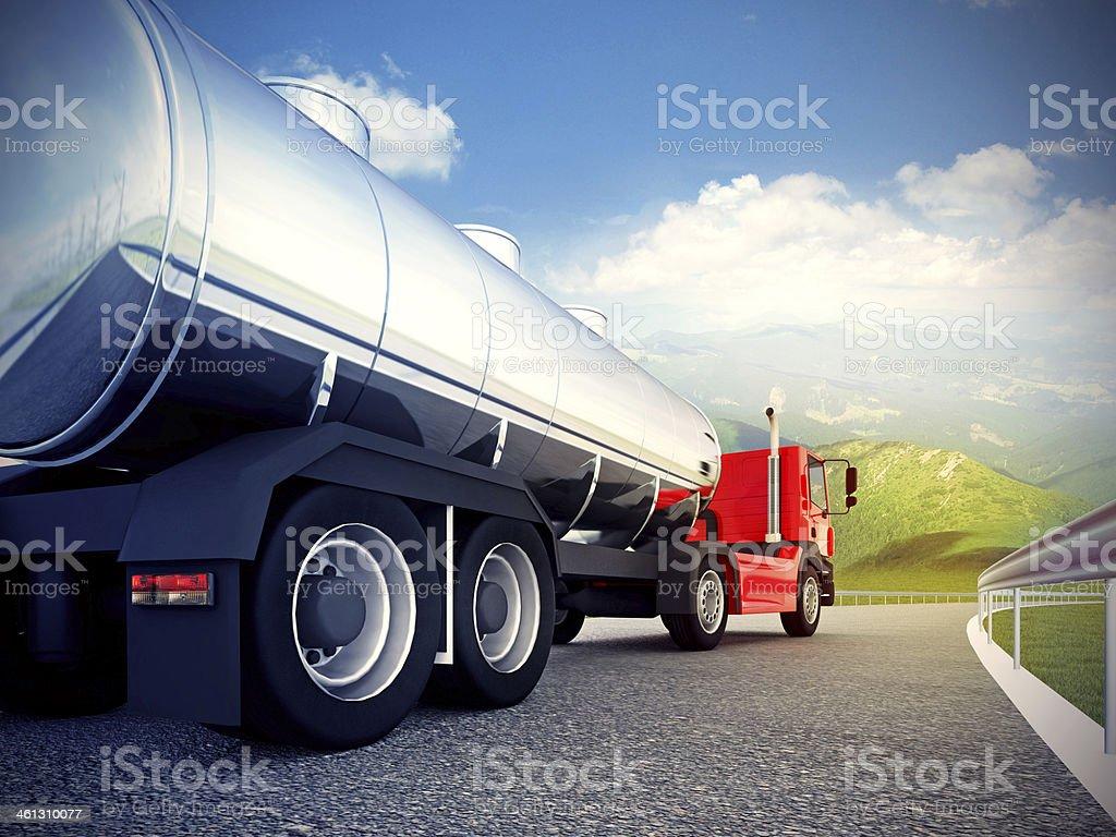 red truck on asphalt road under blue sky stock photo