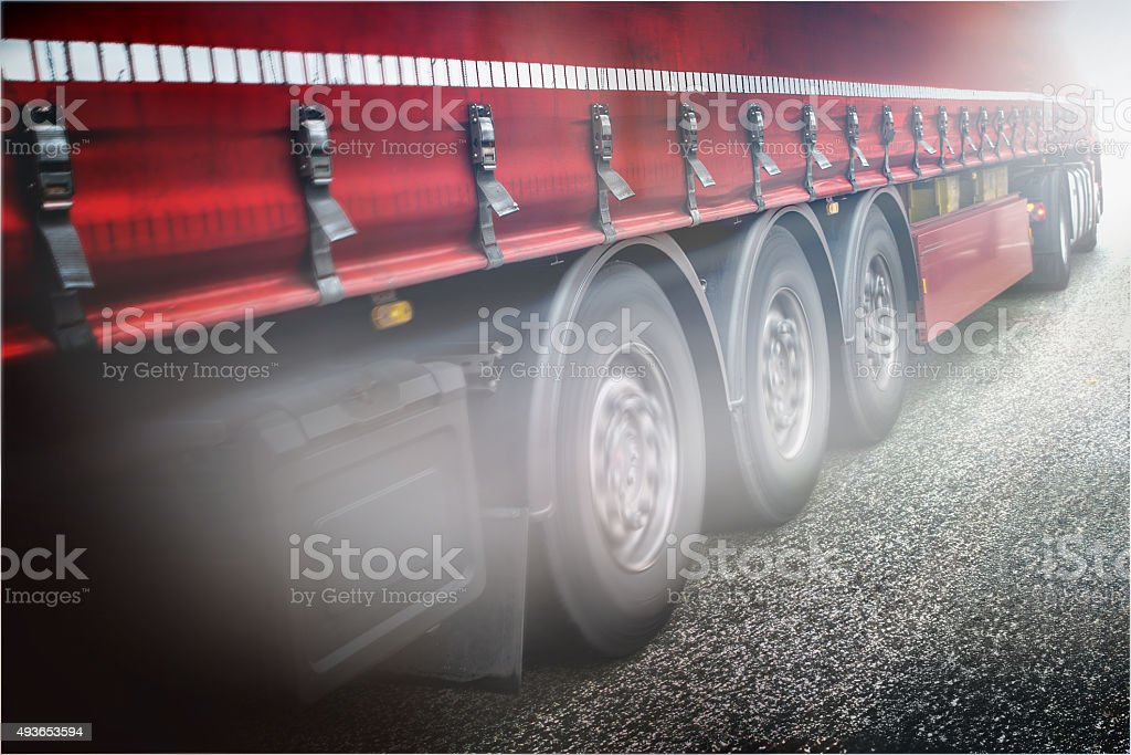 Red truck on the road stock photo