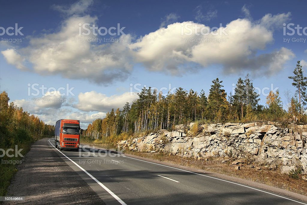 red trucking royalty-free stock photo